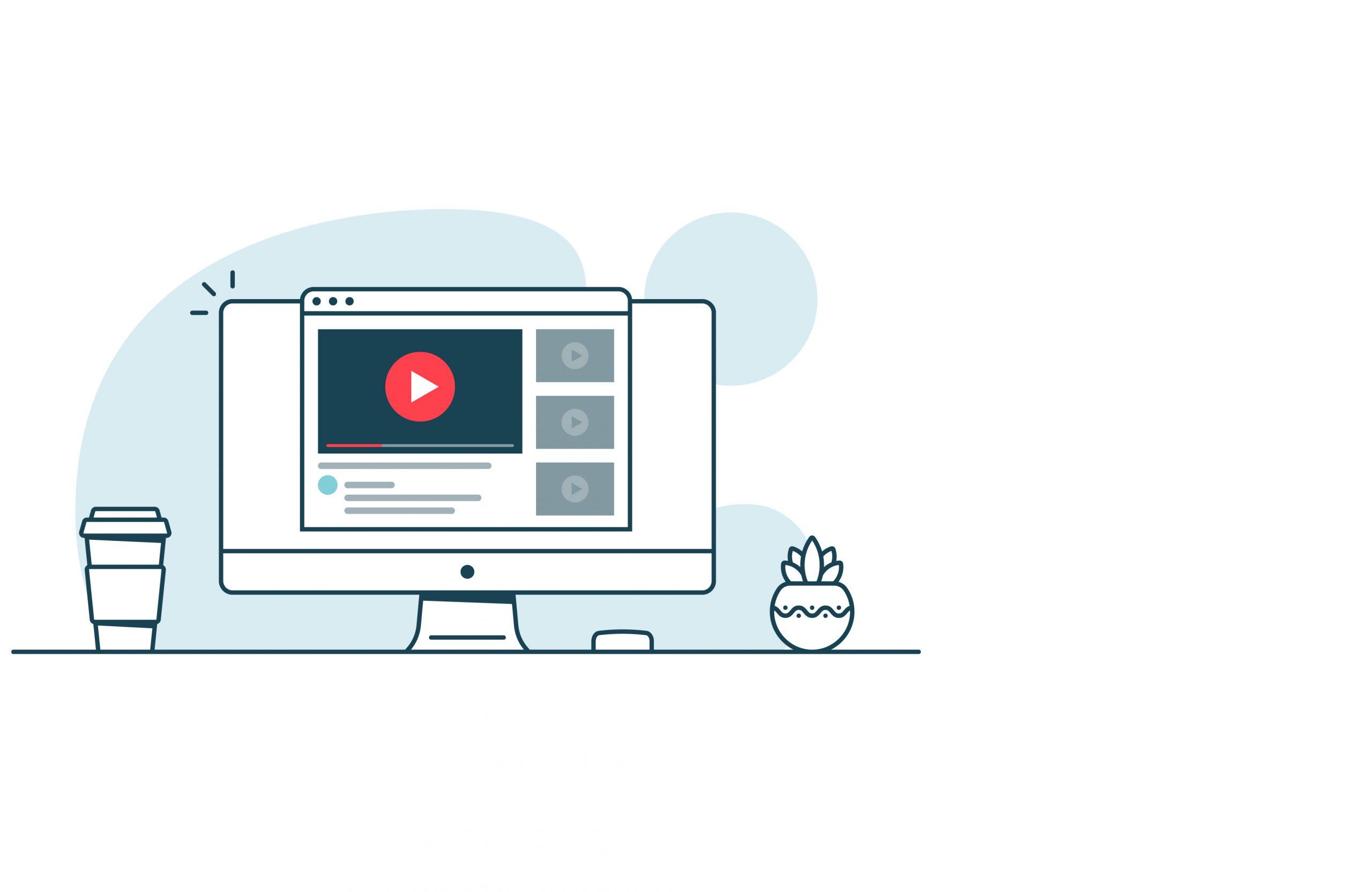 animierte Darstellung von Videoabspielung am Laptop